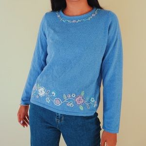 Vintage embroidered floral sweater